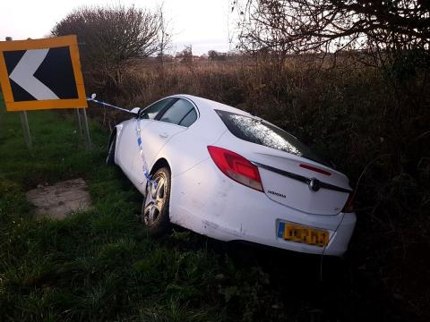 Drink-driver ends up in ditch on New Year's Day