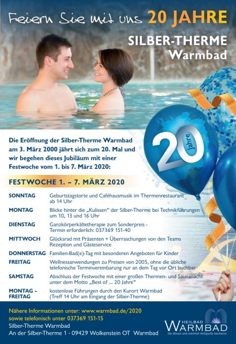 "Programm Festwoche  ""20 Jahre Silber-Therme Warmbad"""