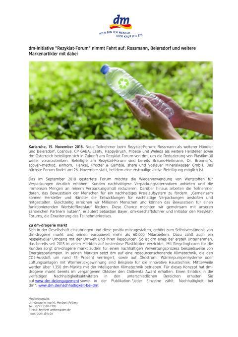 """Pressemitteilung: dm-Initiative """"Rezyklat-Forum"""" nimmt Fahrt auf: Rossmann, Beiersdorf und weitere Markenartikler mit dabei"""