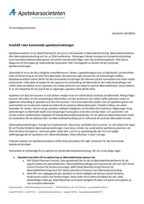 Apotekarsocietetens synpunkter inför apoteksmarknadsutredningen augusti 2015