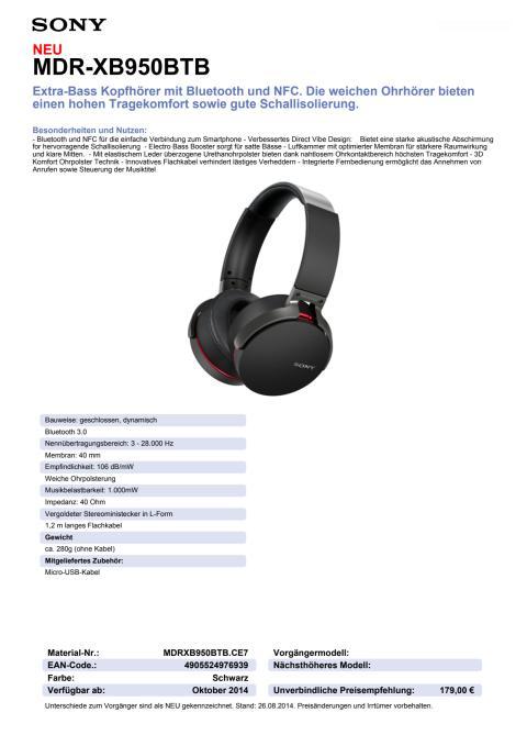Datenblatt MDR-XB950BTB von Sony