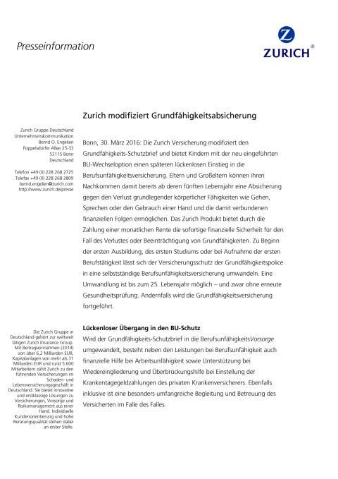 Zurich modifiziert Grundfähigkeitsabsicherung