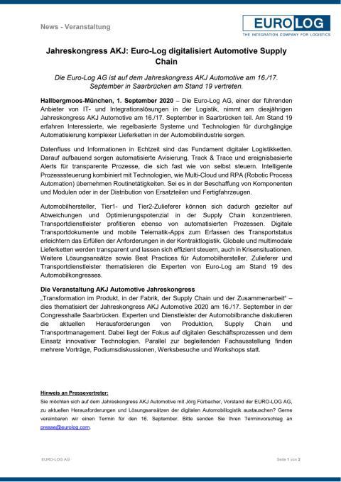Jahreskongress AKJ: Euro-Log digitalisiert Automotive Supply Chain