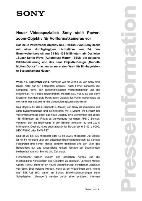 """Pressemitteilung """"Neuer Videospezialist: Sony stellt Powerzoom-Objektiv für Vollformatkameras vor"""""""