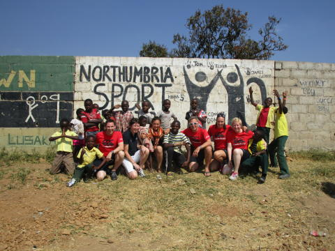 Northumbria University staff and students on a previous Volunteer Zambia trip