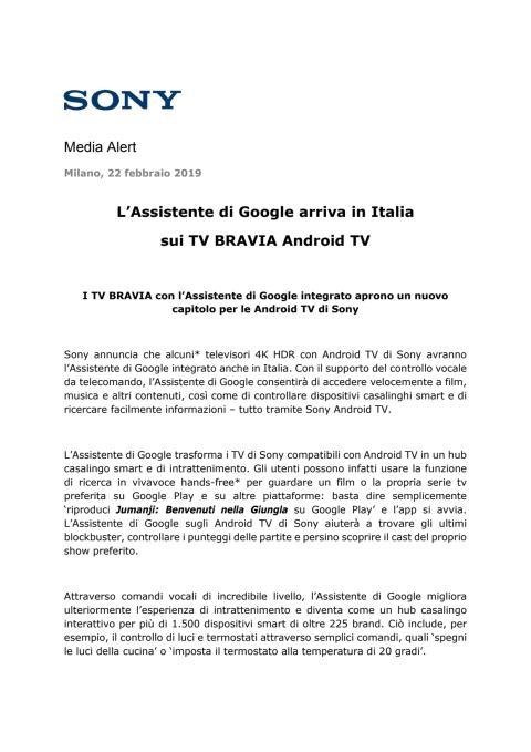 L'Assistente di Google arriva in Italia sui TV BRAVIA Android TV