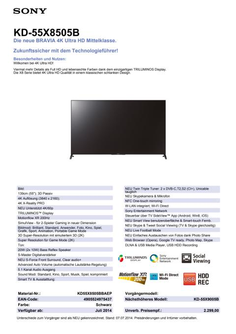 Datenblatt KD-55X8505B von Sony