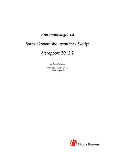 Årsrapport Barnfattigdom 2012:2 KOMMUNBILAGOR