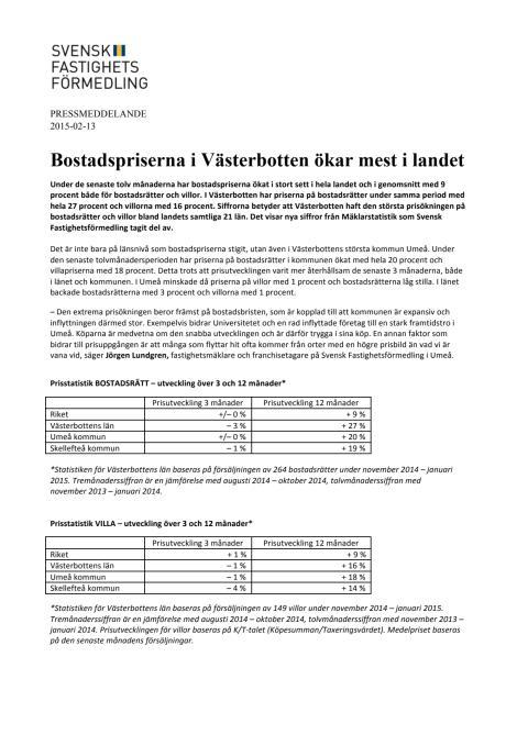 Bostadspriserna i Västerbotten ökar mest i landet