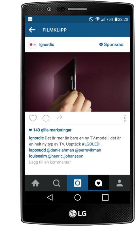 Annonsering på Instagram blev en succé för LG