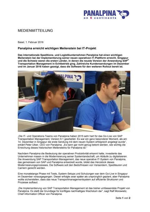 Panalpina erreicht wichtigen Meilenstein bei IT-Projekt