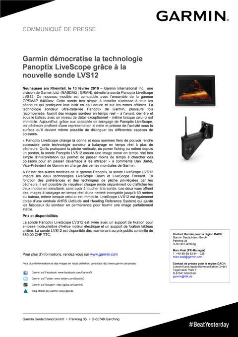 Garmin démocratise la technologie Panoptix LiveScope grâce à la nouvelle sonde LVS12