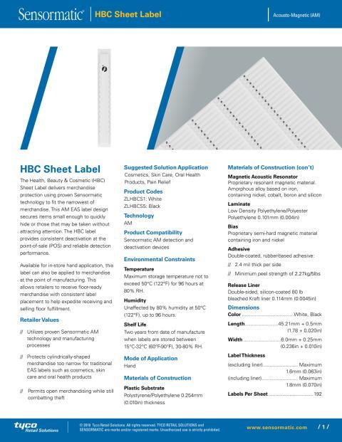 Larmetiketter från Gate Security - Sensormatic HBC