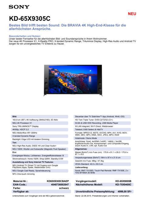 KD-65X9305C von Sony