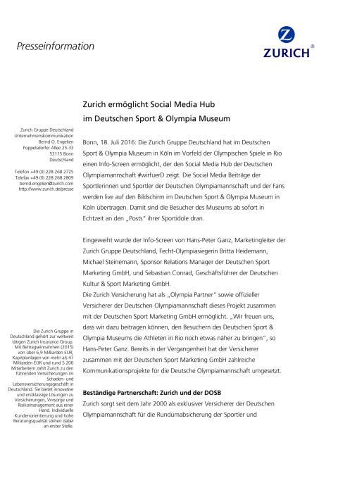 Zurich ermöglicht Social Media Hub im Deutschen Sport & Olympia Museum