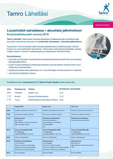 Sairaalaohjelma, syksy 2019