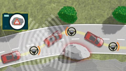 Ford utvikler testbiler som automatisk styrer unna biler som har stoppet eller fotgjengere