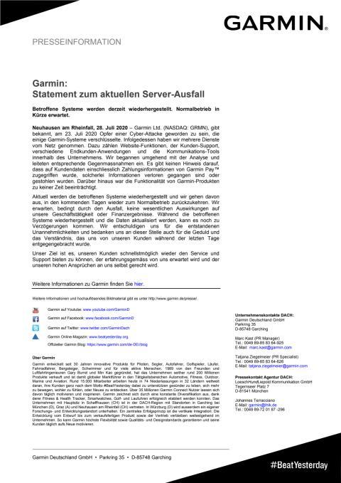 Garmin Statement Server-Ausfall