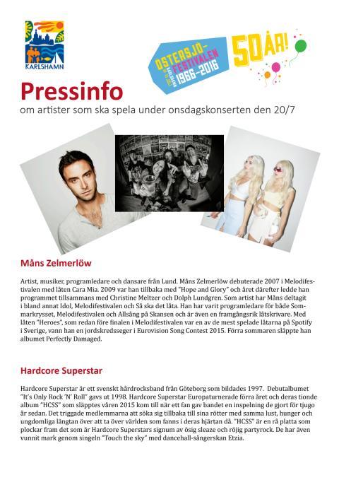 Pressinfo artister onsdag Östersjöfestivalen