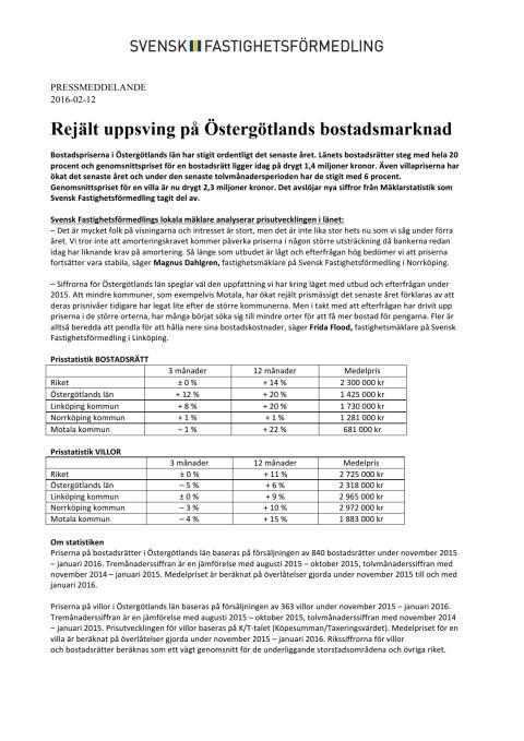Rejält uppsving på Östergötlands bostadsmarknad