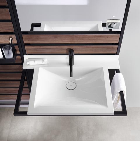 Ein Modul, viele Umbaumöglichkeiten: der Waschtisch burgbad Flex