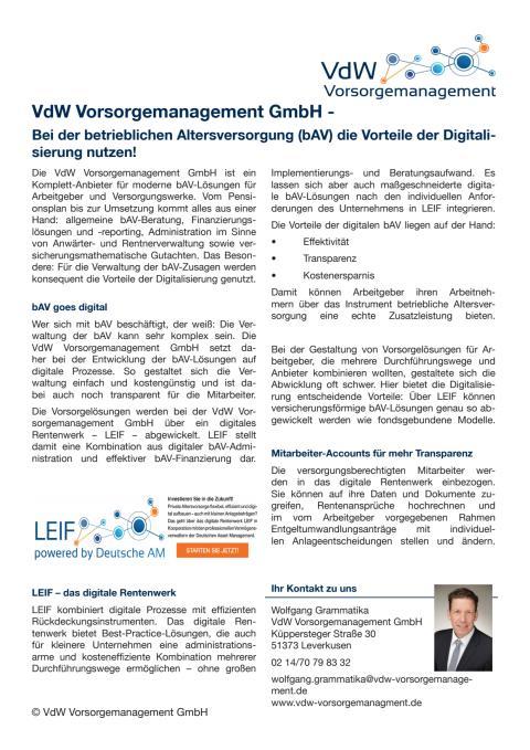 Bei der betrieblichen Altersversorgung (bAV) die Vorteile der Digitalisierung nutzen!