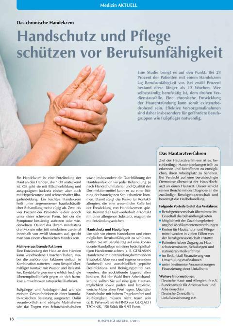 Das chronische Handekzem: Handschutz und Pflege schützen vor Berufsunfähigkeit