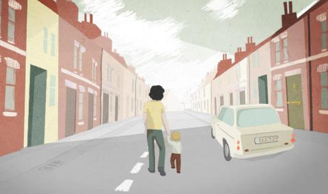Animation still from the film Irene's Ghost