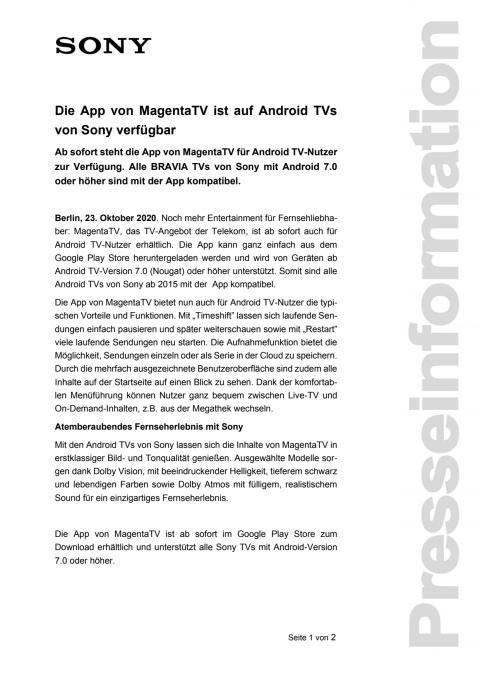 Die App von MagentaTV ist auf Android TVs von Sony verfügbar