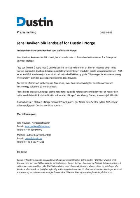 Jens Haviken blir landssjef for Dustin i Norge