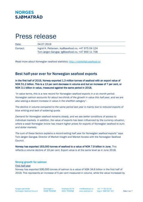 Best half-year ever for Norwegian seafood exports