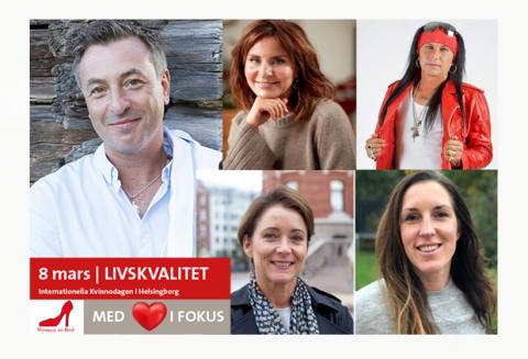 Woman in Red kommer till Helsingborg den 8 mars, på Internationella Kvinnodagen. Tareq Taylor Maria Borelius m fl talar från hjärtat.