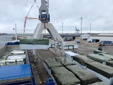 Handling in Malmö of modules for prefab houses
