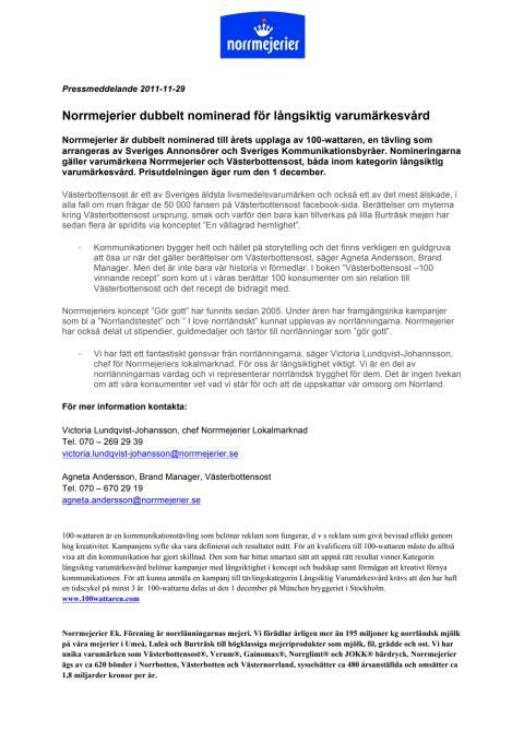 Norrmejerier dubbelt nominerad för långsiktig varumärkesvård