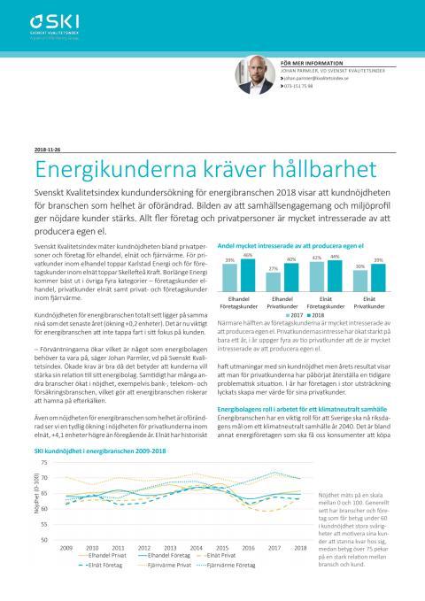 Svenskt Kvalitetsindex Energibranschen 2018