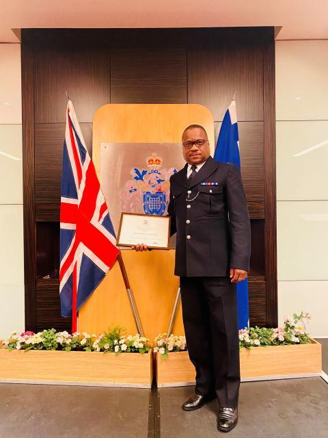 PC Lancelot Edmondson - receiving a Commendation