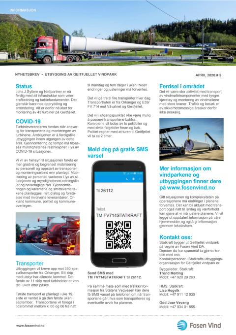 Nyhetsbrev transporter 2020 Geitfjellet vindpark
