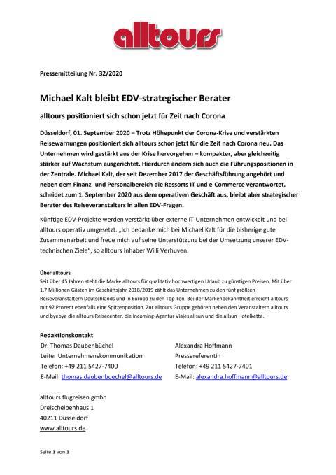 Michael Kalt bleibt EDV-strategischer Berater - alltours positioniert sich schon jetzt für Zeit nach Corona