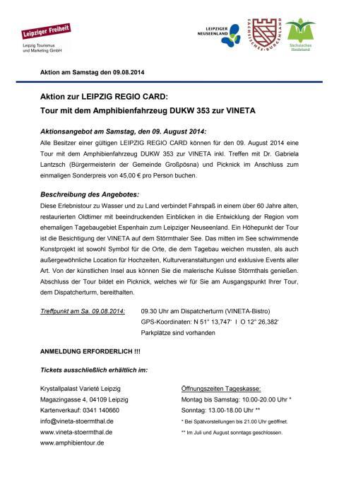 Aktionsangebot Amphibienfahrzeug und VINETA am 09.08.2014