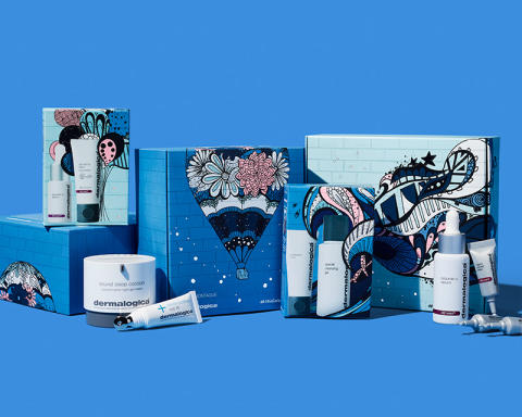 Boxes and Product On Blue