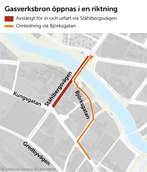 Gasverksbron öppnas i ena riktningen under vecka 41