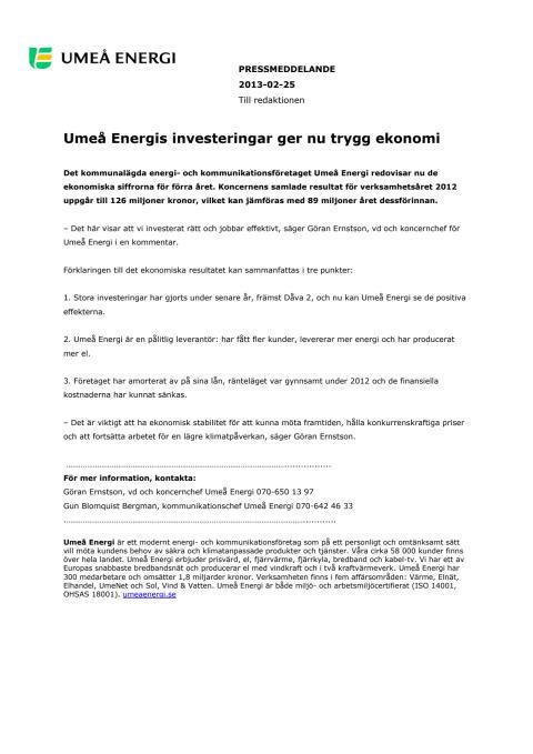 Umeå Energis investeringar ger nu trygg ekonomi