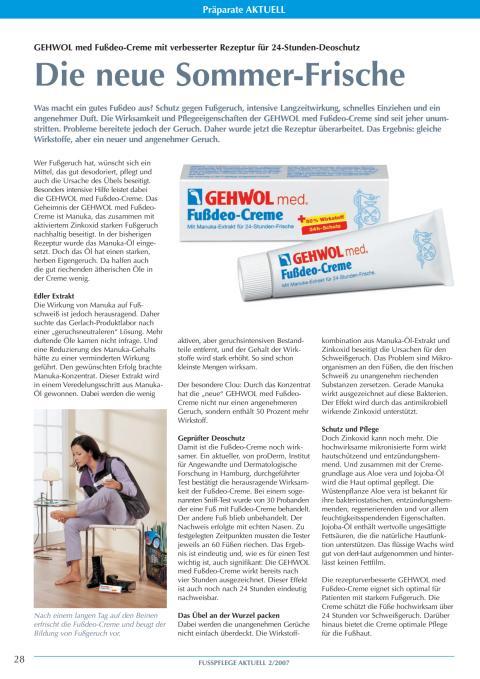 Die neue Sommer-Frische: GEHWOL med Fußdeo-Creme mit verbesserter Rezeptur für 24-Stunden-Deoschutz