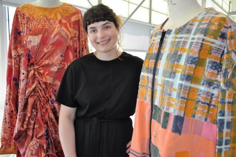 Emma Rigby making her final preparations for Graduate Fashion Week