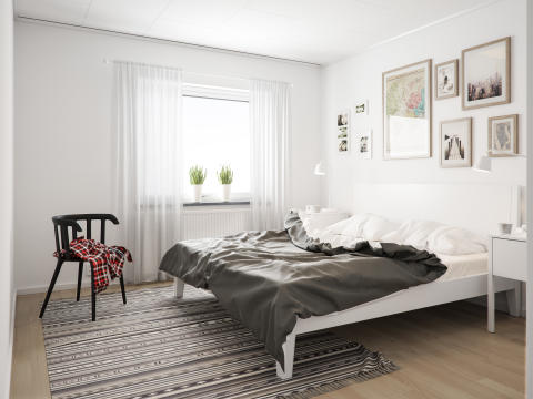 Illustration av sovrum i radhus, BoKlok Fritiden i Lindbacka. OBS! Bilden är en illustration och avvikelser kan förekomma i slutprodukt.