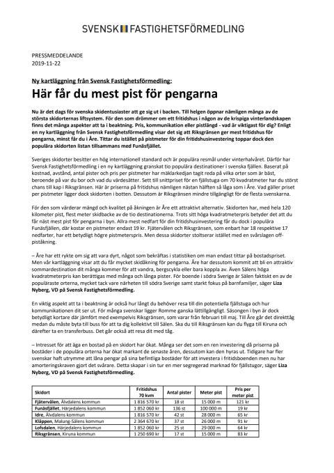 Ny kartläggning från Svensk Fastighetsförmedling: Här får du mest pist för pengarna