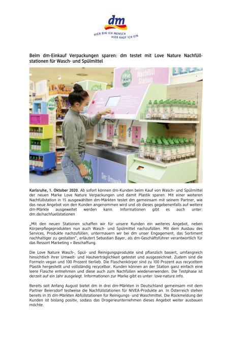 Beim dm-Einkauf Verpackungen sparen: dm testet mit Love Nature Nachfüllstationen für Wasch- und Spülmittel