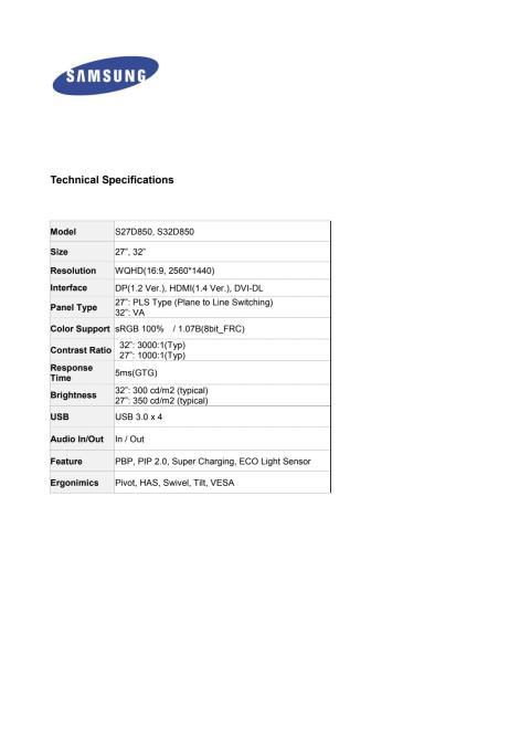 SD850 - Tekniske specifikationer