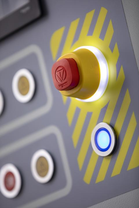 Ny nødstopp-knapp med LED-lys