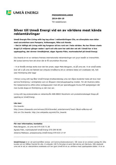 Silver till Umeå Energi vid en av världens mest kända reklamtävlingar
